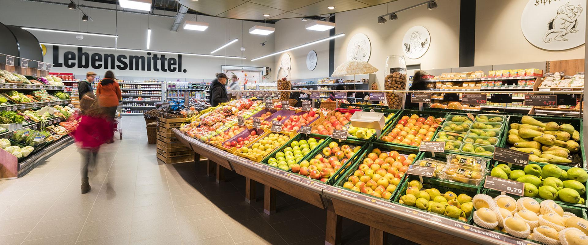 Освещение отдела фруктов и овощей. Цветовая температура 2700К